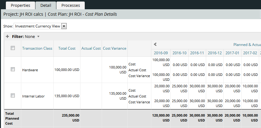 Sample Cost Plan